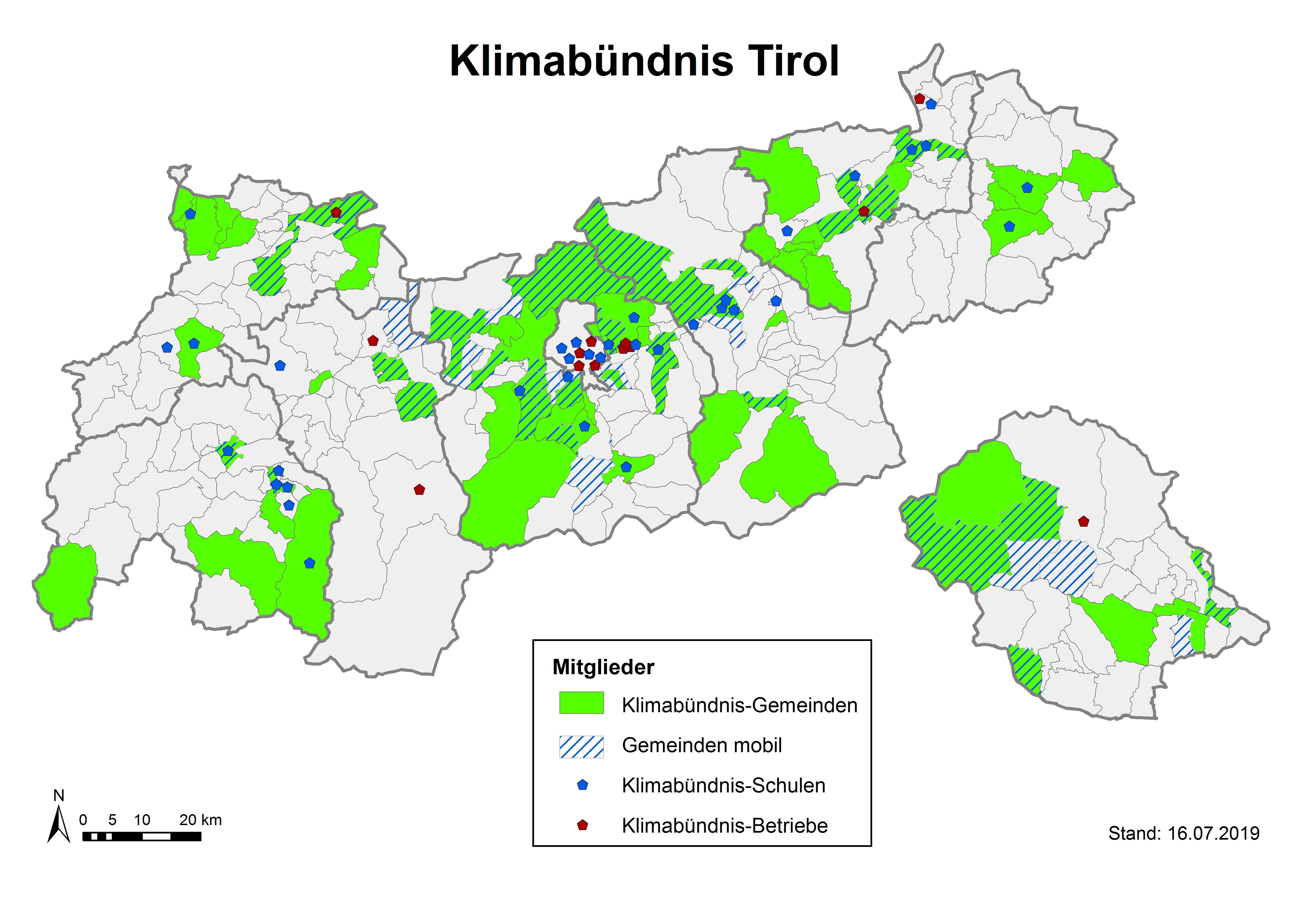 Karte Tirol.Klimabündnis österreich