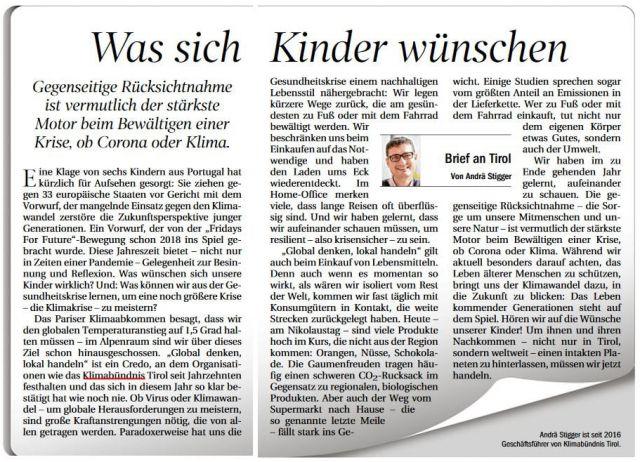 Brief an Tirol, erschienen am 6. Dezember 2020 in der Tiroler Tageszeitung