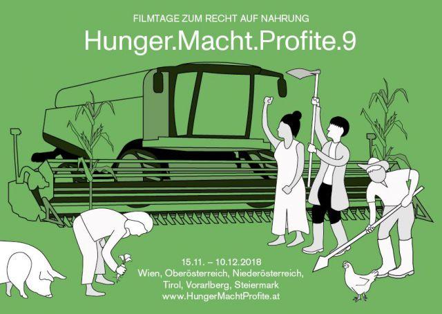 Werbebanner zu Hunger Macht Profite, Menschen stehen und arbeiten vor einem Traktor