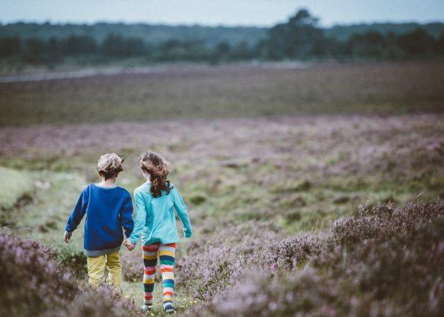 Zwei Kinder gehen hand in Hand über eine Blumenheide